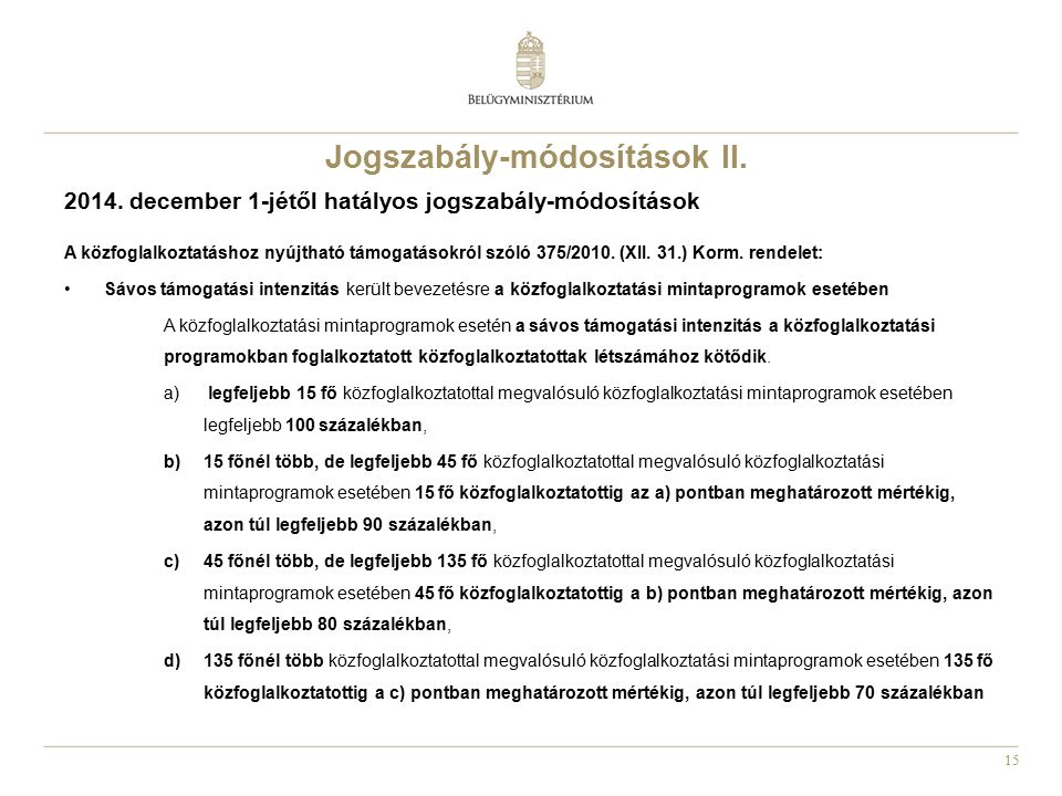 Jogszabály-módosítások II.