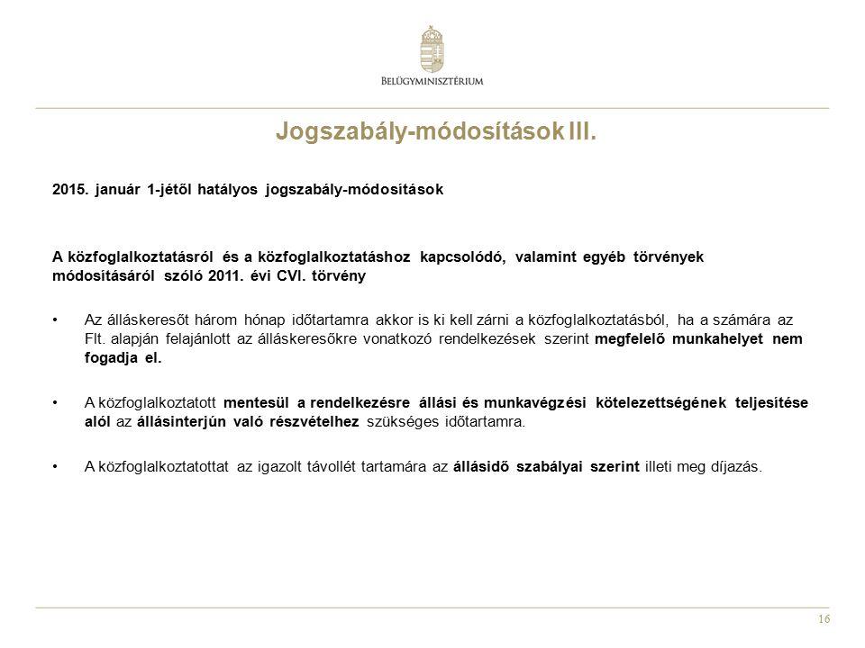 Jogszabály-módosítások III.