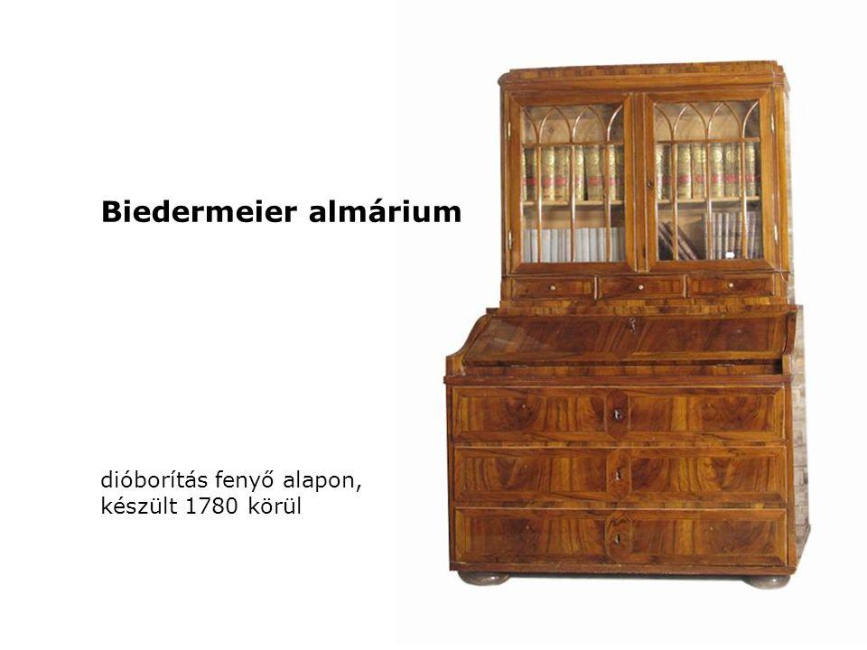 Biedermeier almárium dióborítás fenyő alapon, készült 1780 körül