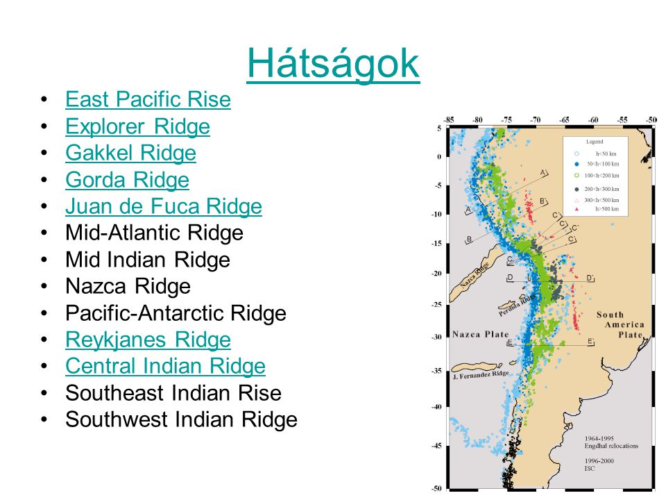 Hátságok East Pacific Rise Explorer Ridge Gakkel Ridge Gorda Ridge