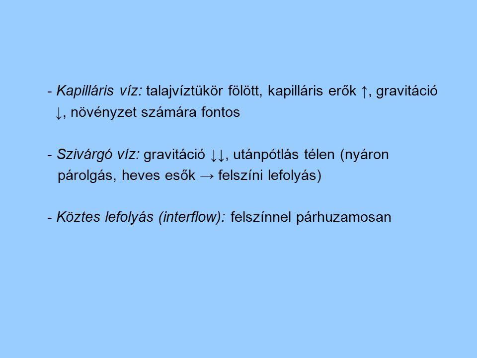 - Kapilláris víz: talajvíztükör fölött, kapilláris erők ↑, gravitáció