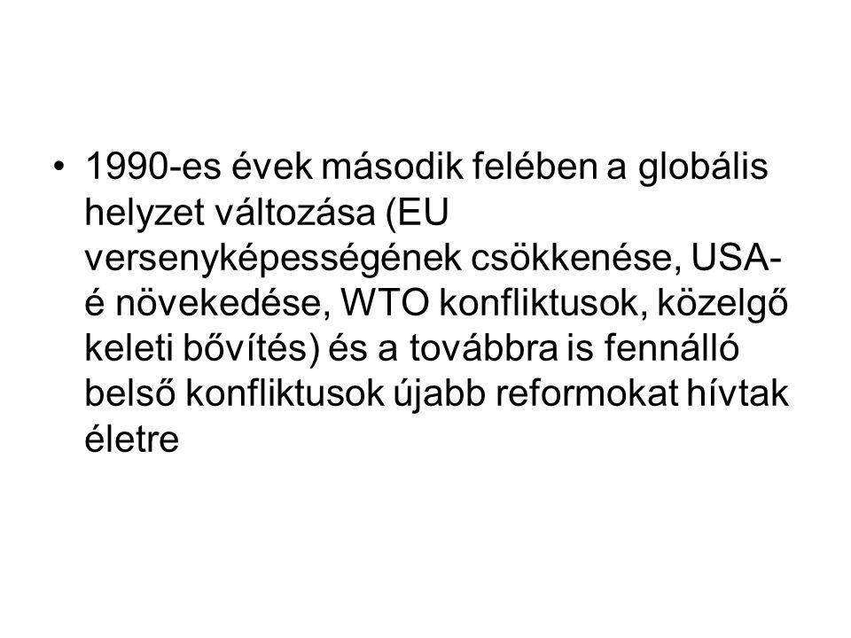 1990-es évek második felében a globális helyzet változása (EU versenyképességének csökkenése, USA-é növekedése, WTO konfliktusok, közelgő keleti bővítés) és a továbbra is fennálló belső konfliktusok újabb reformokat hívtak életre