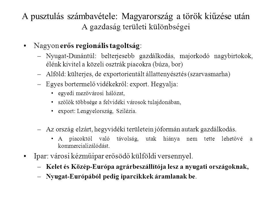 A pusztulás számbavétele: Magyarország a török kiűzése után A gazdaság területi különbségei