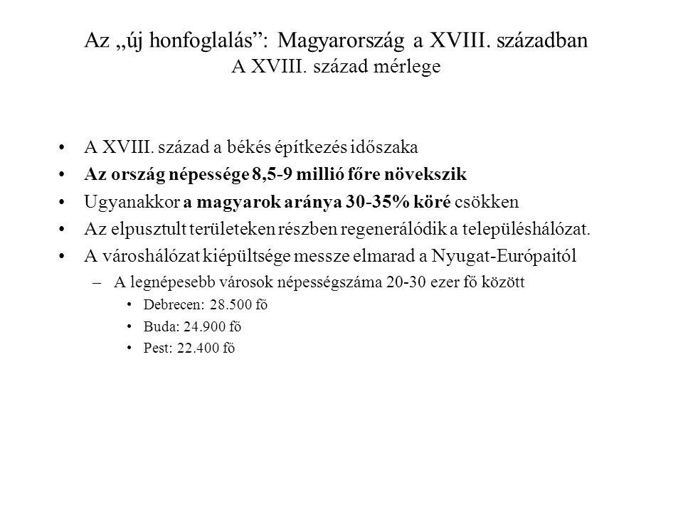 """Az """"új honfoglalás : Magyarország a XVIII. században A XVIII"""