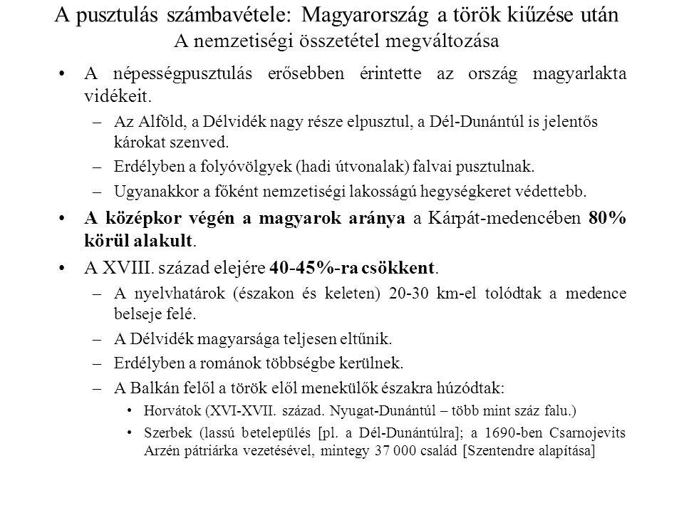 A pusztulás számbavétele: Magyarország a török kiűzése után A nemzetiségi összetétel megváltozása