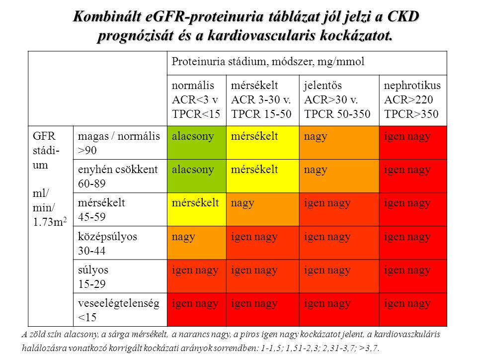 Kombinált eGFR-proteinuria táblázat jól jelzi a CKD prognózisát és a kardiovascularis kockázatot.