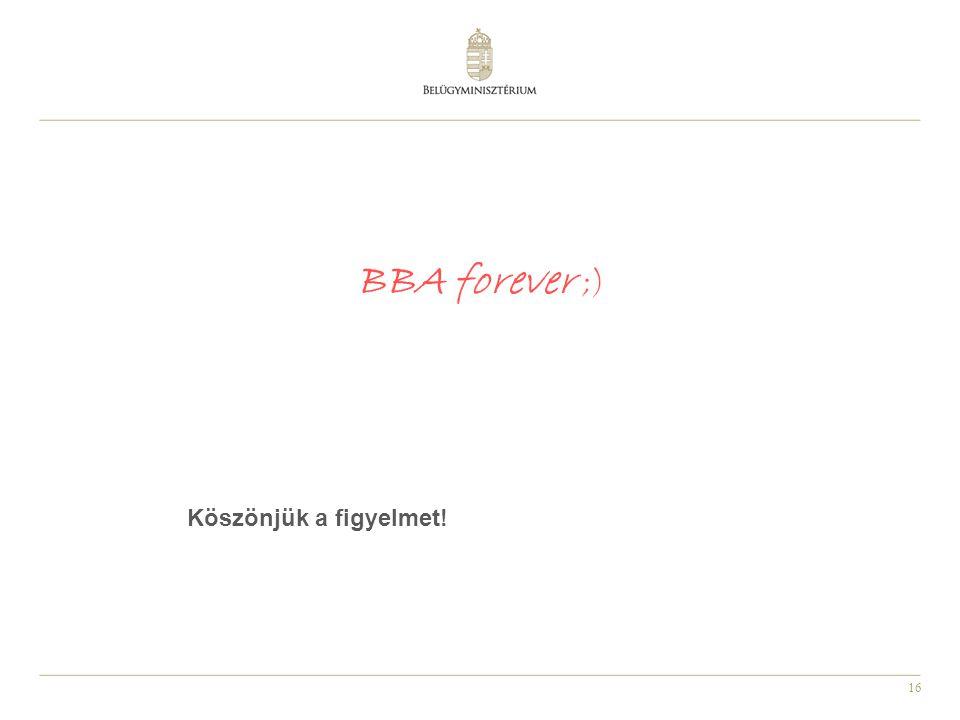 BBA forever ;) Köszönjük a figyelmet!
