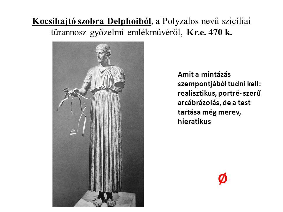 Kocsihajtó szobra Delphoiból, a Polyzalos nevű szicíliai türannosz győzelmi emlékművéről, Kr.e. 470 k.