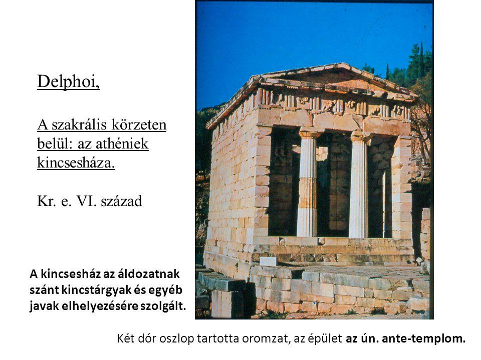 Delphoi, A szakrális körzeten belül: az athéniek kincsesháza.