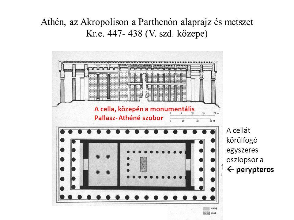 Athén, az Akropolison a Parthenón alaprajz és metszet Kr. e