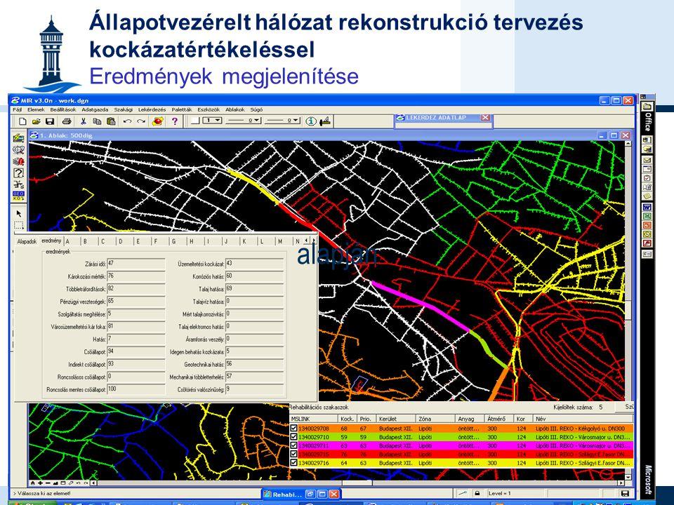 Állapotvezérelt hálózat rekonstrukció tervezés kockázatértékeléssel Eredmények megjelenítése