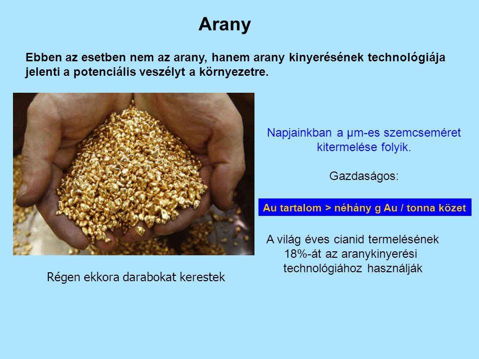 Arany Ebben az esetben nem az arany, hanem arany kinyerésének technológiája. jelenti a potenciális veszélyt a környezetre.