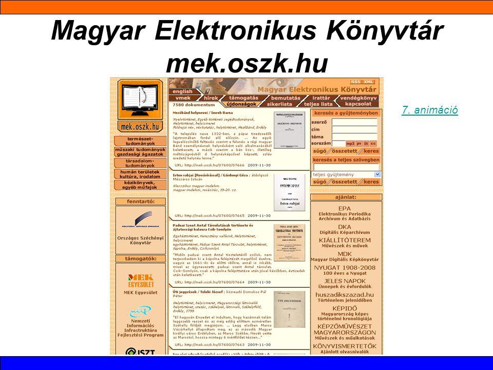 Magyar Elektronikus Könyvtár mek.oszk.hu