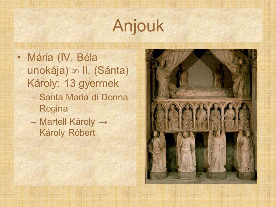 Anjouk Mária (IV. Béla unokája)  II. (Sánta) Károly: 13 gyermek