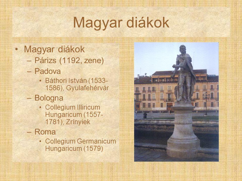 Magyar diákok Magyar diákok Párizs (1192, zene) Padova Bologna Roma