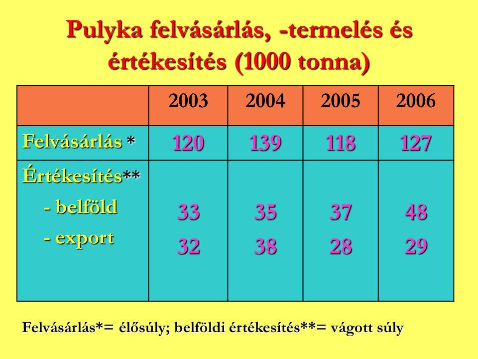 Pulyka felvásárlás, -termelés és értékesítés (1000 tonna)