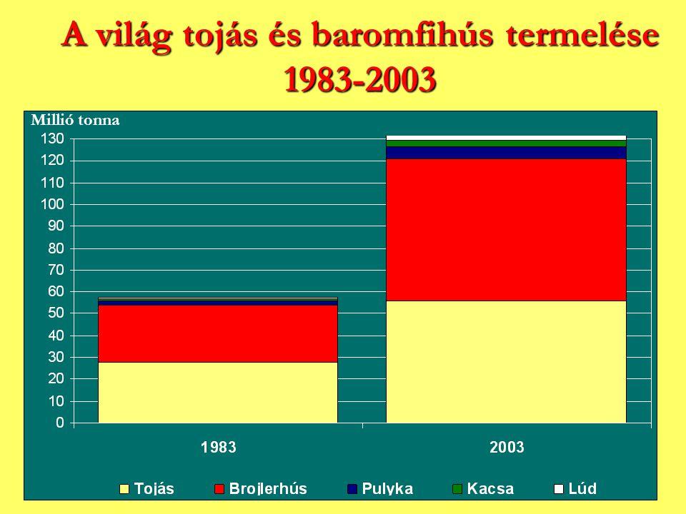 A világ tojás és baromfihús termelése 1983-2003