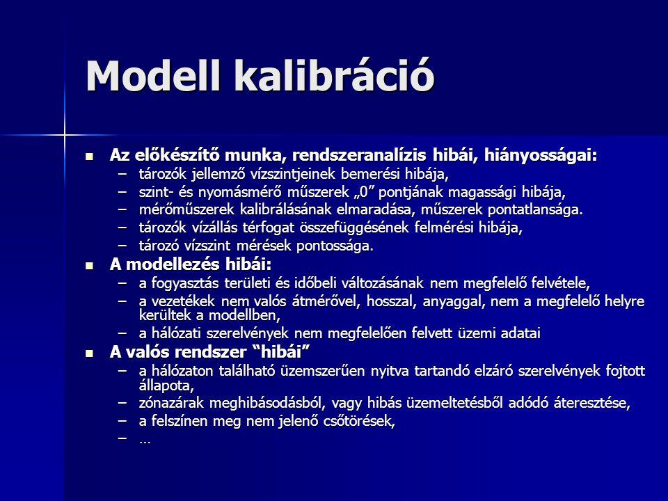 Modell kalibráció Az előkészítő munka, rendszeranalízis hibái, hiányosságai: tározók jellemző vízszintjeinek bemerési hibája,