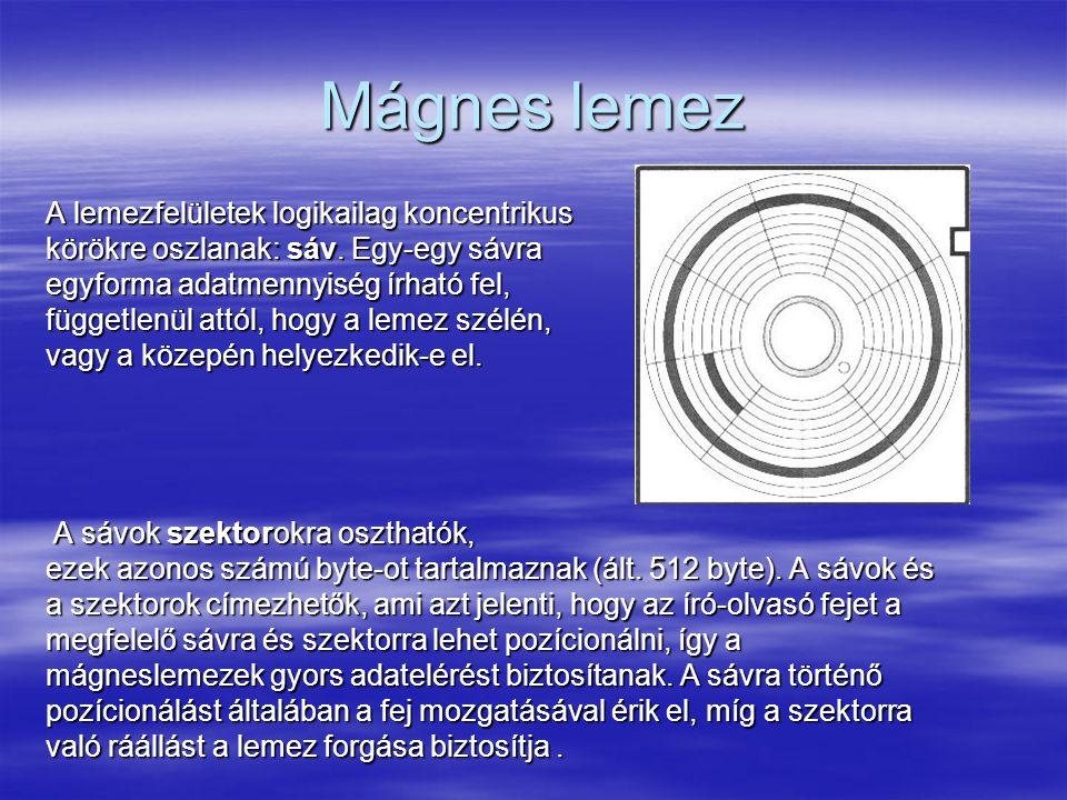 Mágnes lemez A lemezfelületek logikailag koncentrikus