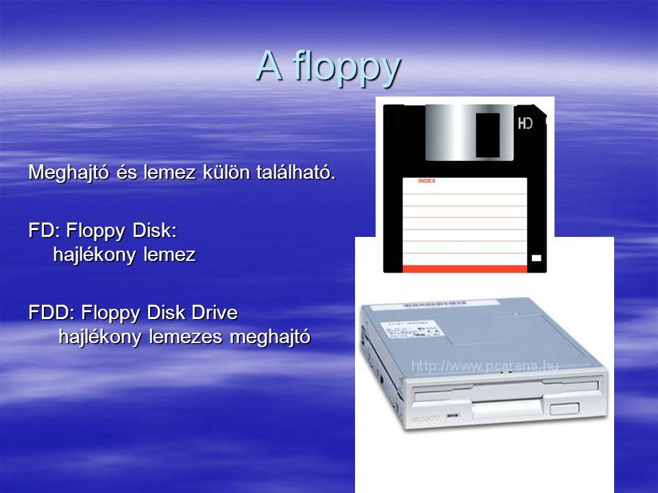 A floppy Meghajtó és lemez külön található.