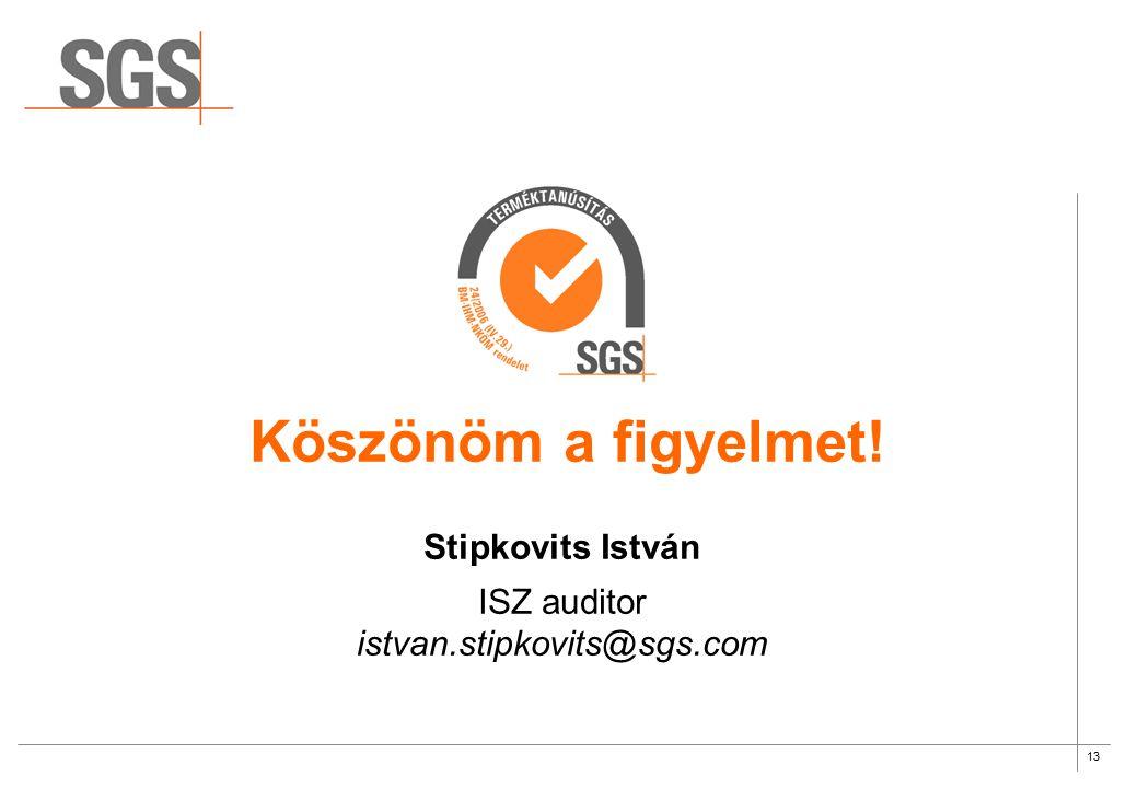 Köszönöm a figyelmet! Stipkovits István ISZ auditor