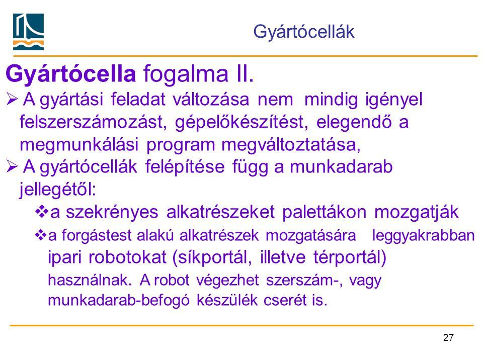 Gyártócella fogalma II.