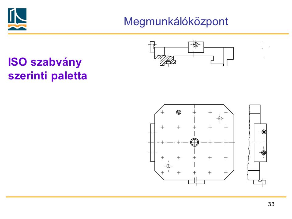 Megmunkálóközpont ISO szabvány szerinti paletta
