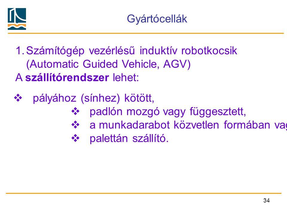 Gyártócellák Számítógép vezérlésű induktív robotkocsik. (Automatic Guided Vehicle, AGV) A szállítórendszer lehet: