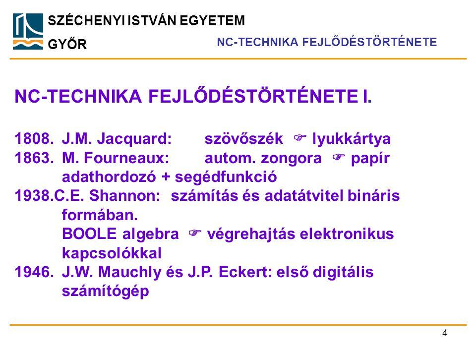 NC-TECHNIKA FEJLŐDÉSTÖRTÉNETE I.