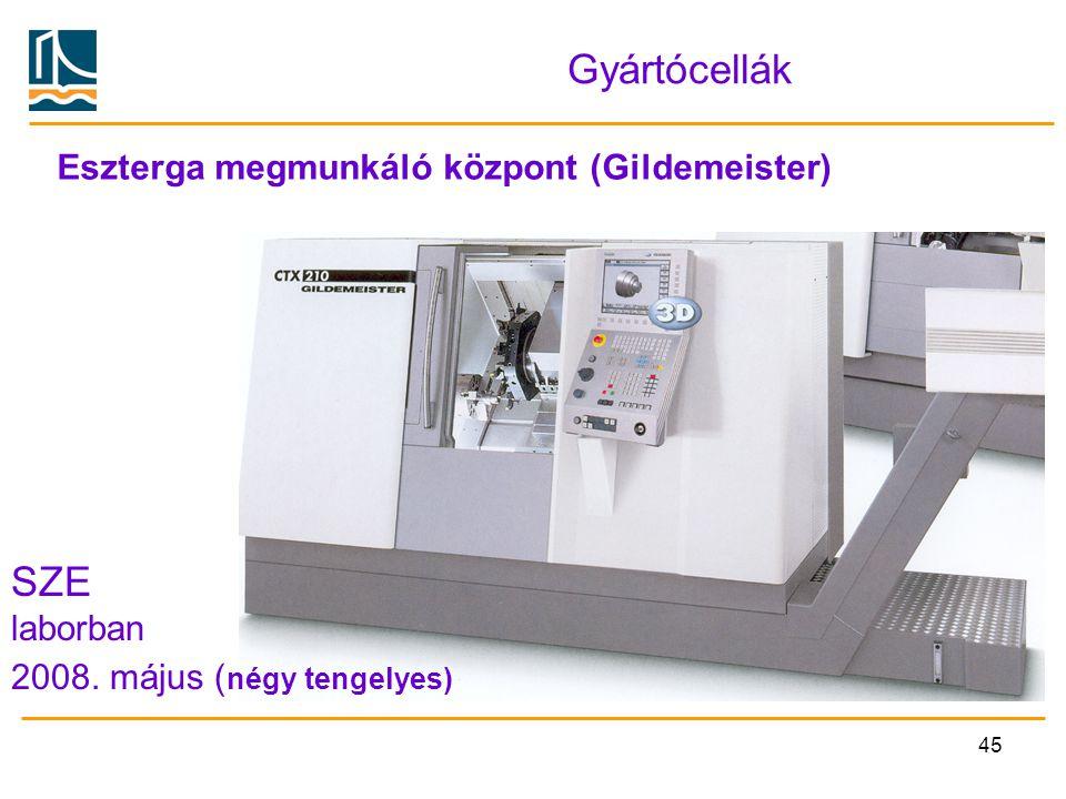 Gyártócellák SZE Eszterga megmunkáló központ (Gildemeister) laborban
