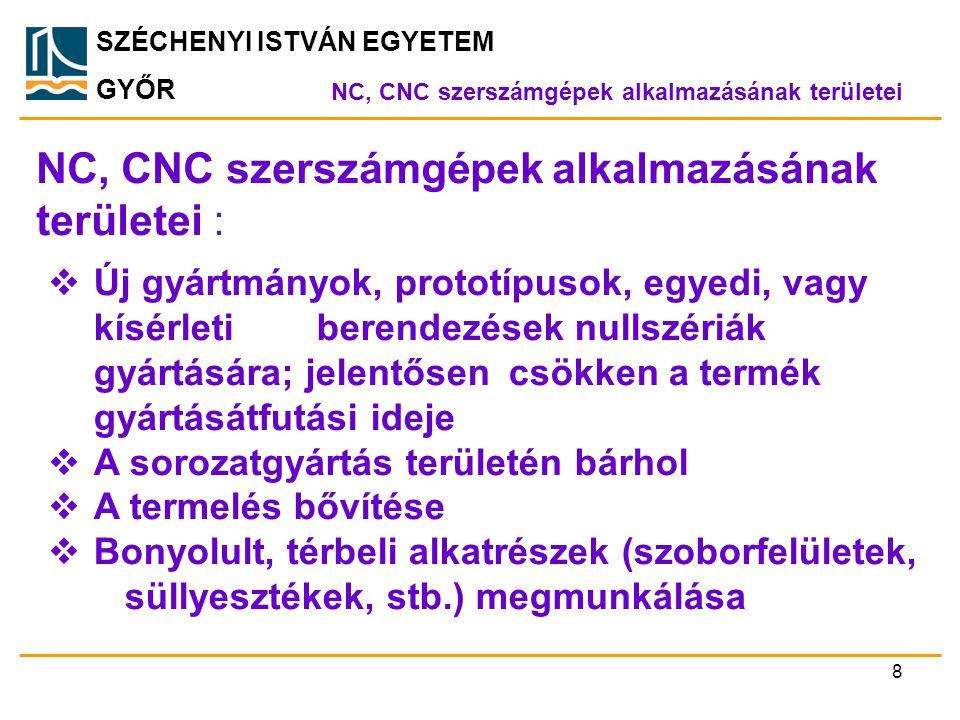 NC, CNC szerszámgépek alkalmazásának területei :