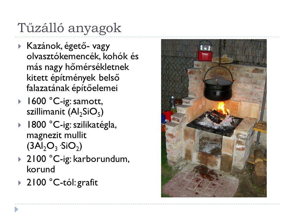 Tűzálló anyagok Kazánok, égető- vagy olvasztókemencék, kohók és más nagy hőmérsékletnek kitett építmények belső falazatának építőelemei.