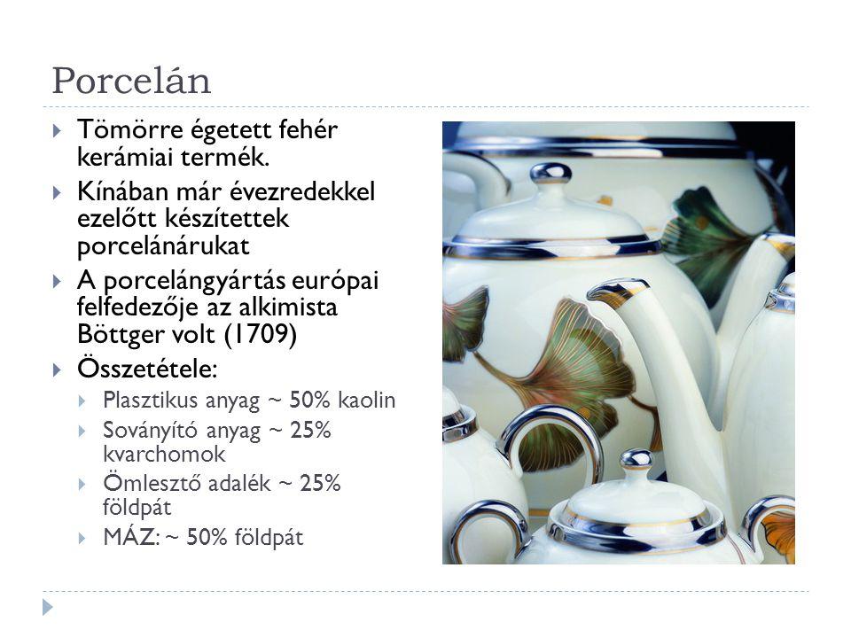 Porcelán Tömörre égetett fehér kerámiai termék.