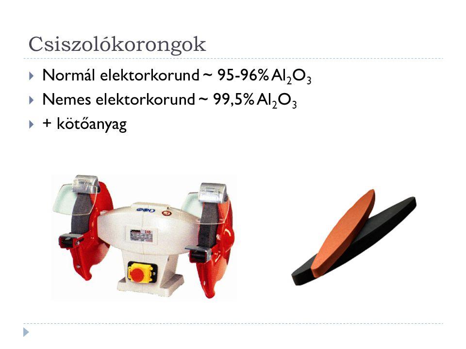 Csiszolókorongok Normál elektorkorund ~ 95-96% Al2O3