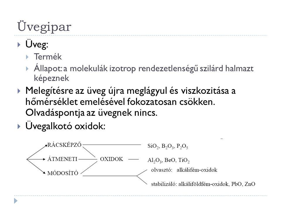 Üvegipar Üveg: Termék. Állapot: a molekulák izotrop rendezetlenségű szilárd halmazt képeznek.
