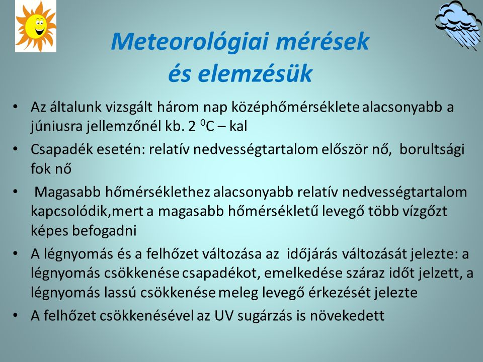Meteorológiai mérések és elemzésük