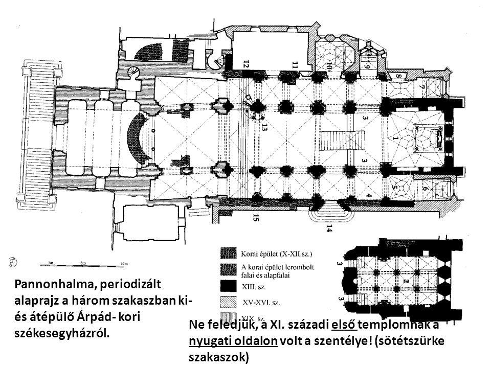 Pannonhalma, periodizált alaprajz a három szakaszban ki- és átépülő Árpád- kori székesegyházról.