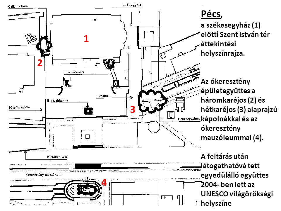 Pécs, a székesegyház (1) előtti Szent István tér áttekintési helyszínrajza.