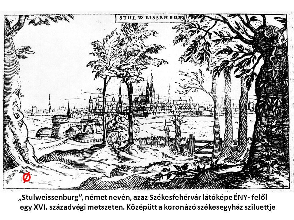 """lØ """"Stulweissenburg , német nevén, azaz Székesfehérvár látóképe ÉNY- felől."""