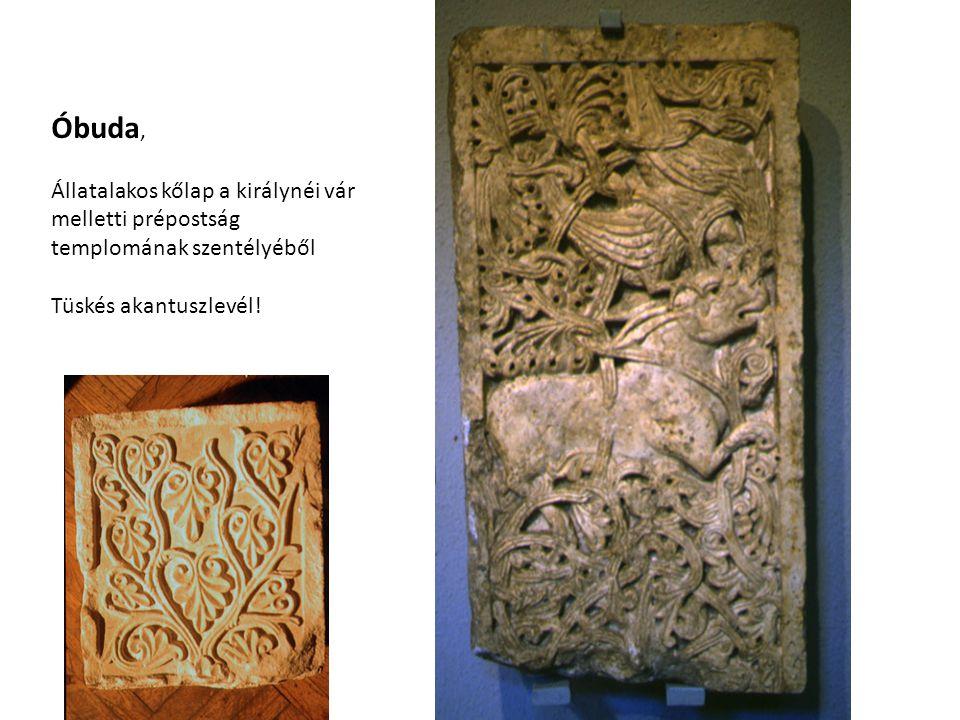 Óbuda, Állatalakos kőlap a királynéi vár melletti prépostság templomának szentélyéből.