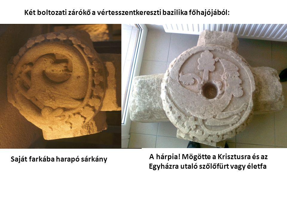Két boltozati zárókő a vértesszentkereszti bazilika főhajójából: