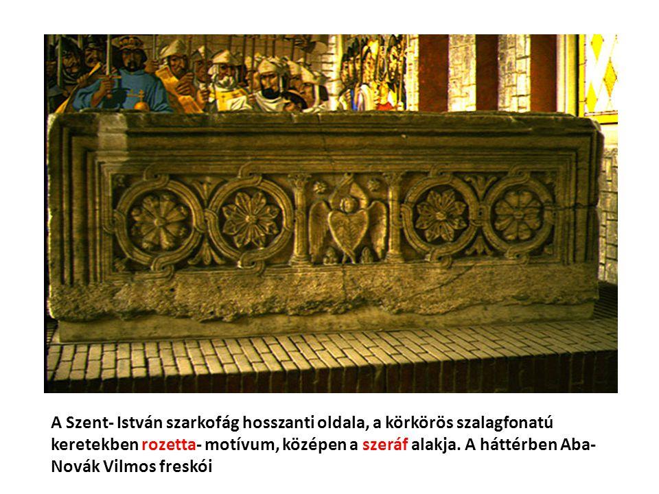 A Szent- István szarkofág hosszanti oldala, a körkörös szalagfonatú keretekben rozetta- motívum, középen a szeráf alakja.
