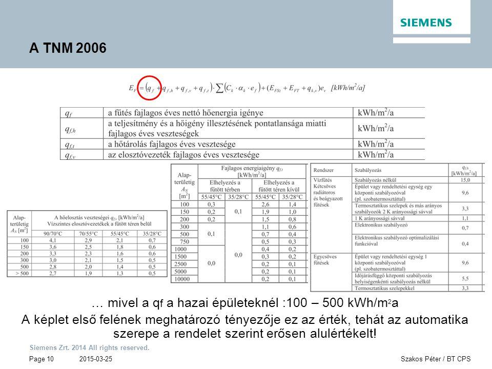 … mivel a qf a hazai épületeknél :100 – 500 kWh/m2a