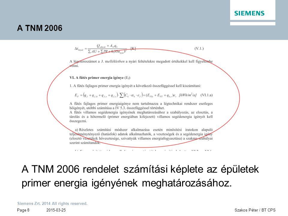 A TNM 2006 A TNM 2006 rendelet számítási képlete az épületek primer energia igényének meghatározásához.
