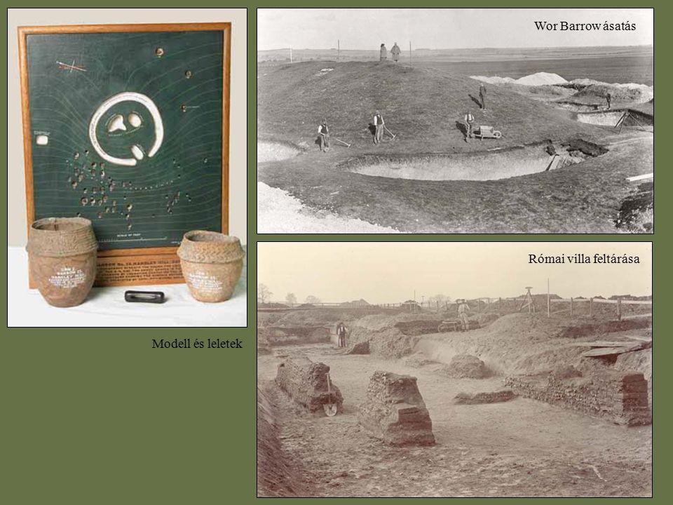 Wor Barrow ásatás Római villa feltárása Modell és leletek
