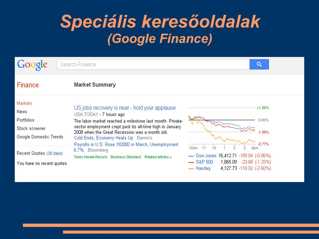 Speciális keresőoldalak (Google Finance)