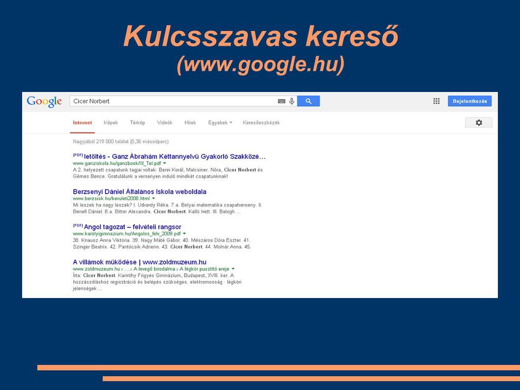 Kulcsszavas kereső (www.google.hu)