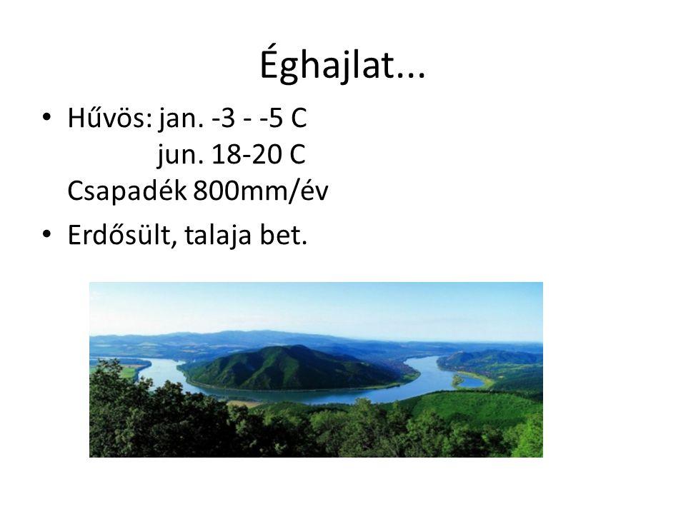 Éghajlat... Hűvös: jan. -3 - -5 C jun. 18-20 C Csapadék 800mm/év