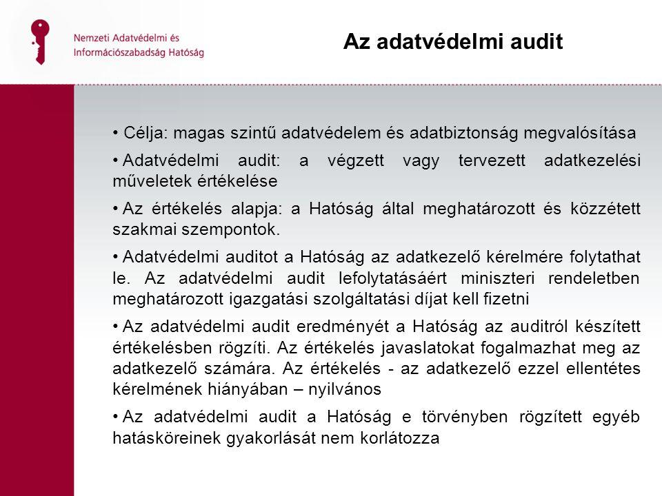 Az adatvédelmi audit Célja: magas szintű adatvédelem és adatbiztonság megvalósítása.