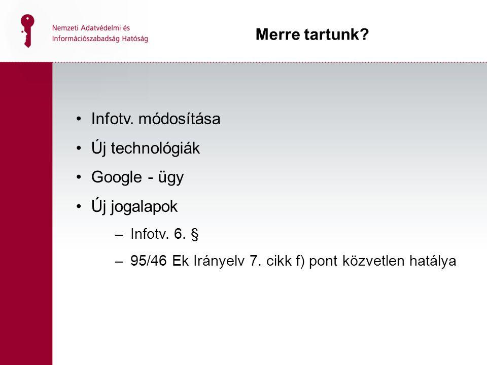 Merre tartunk Infotv. módosítása Új technológiák Google - ügy